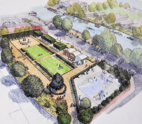 Artist's concept of the proposed design for the Diamond Jubilee Garden on the former poolsite