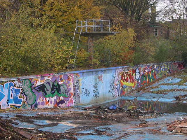 The old diving board, 12/11/04. Photo by Duncan Rimmer.